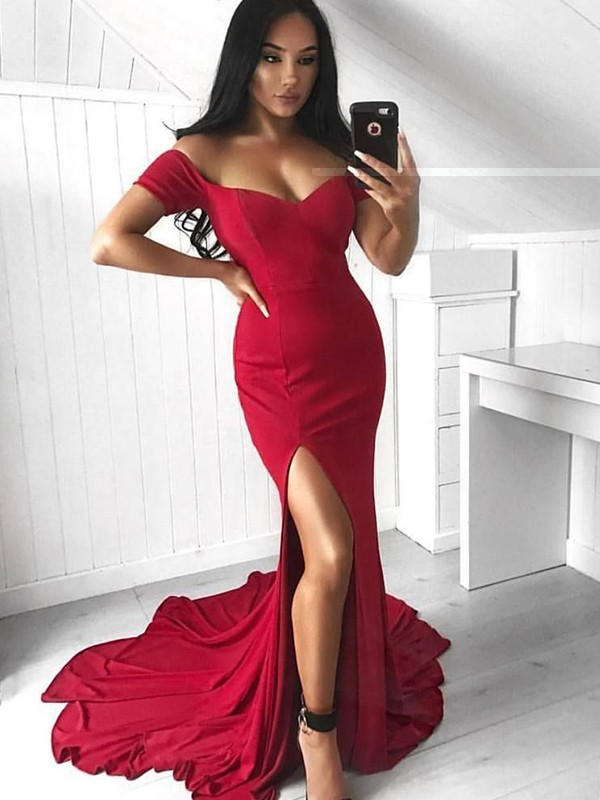 Beautiful Mermaid Sleeveless Off-the-Shoulder Court Train Spandex Dress