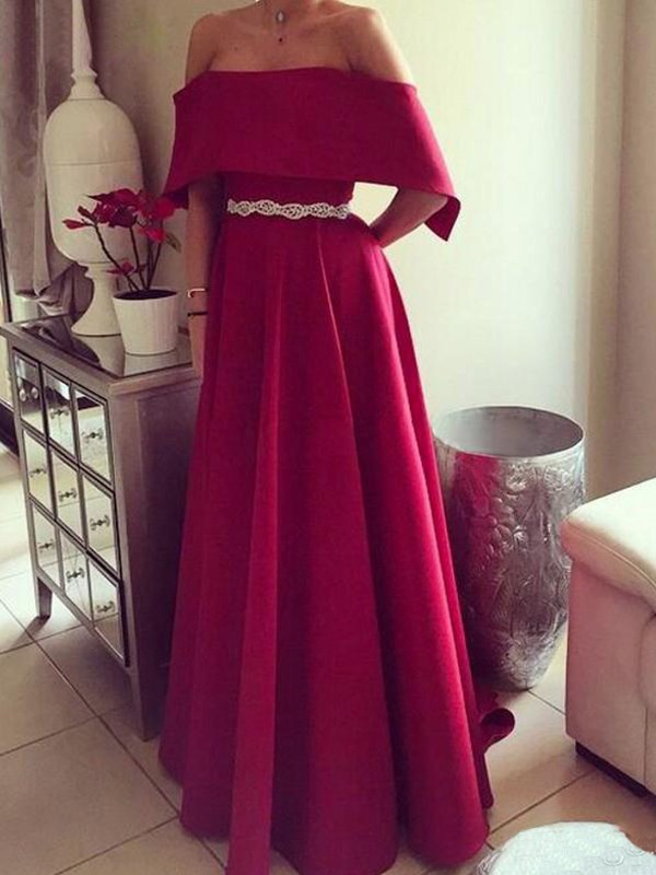 Cheap A-Line Sleeveless Off-the-Shoulder Floor-Length Satin Dress