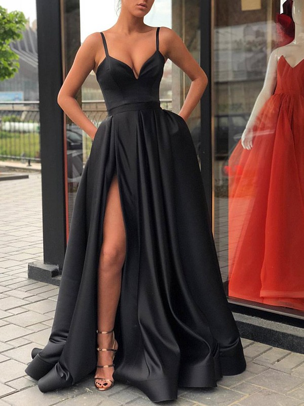 2d10988315f Exquisite A-Line Sleeveless Straps Sweep Brush Train Satin Dress ...