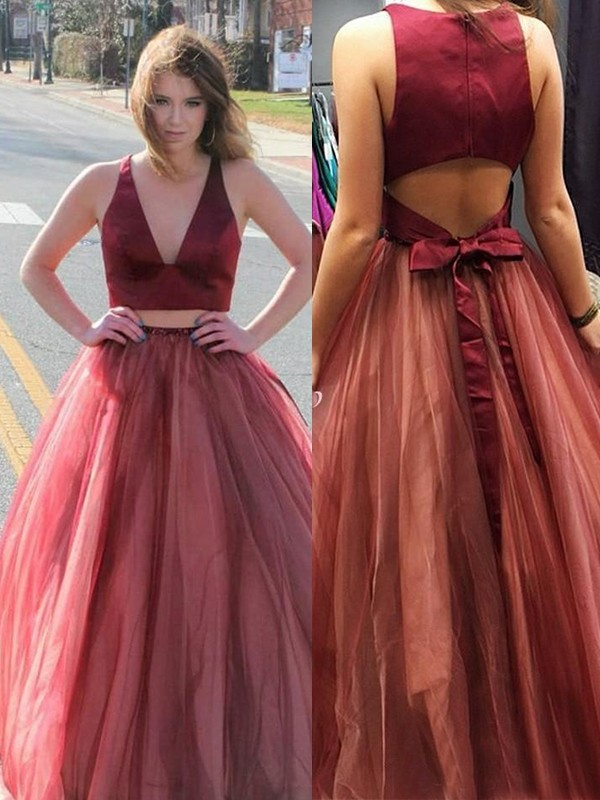 Affordable A-Line Sleeveless V-neck Sweep/Brush Train Tulle Two piece Dress