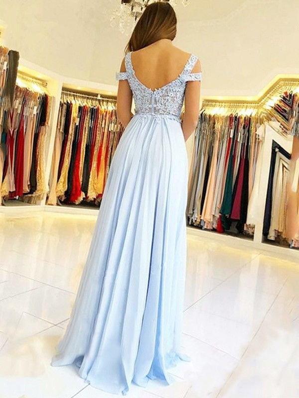 Charming A-Line Sleeveless Off-the-Shoulder Floor-Length Chiffon Dress