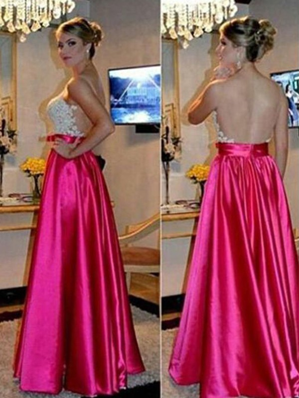 Fashion A-Line Sleeveless Sweetheart Floor-Length Satin Dress