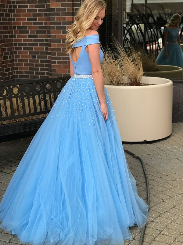 Beautiful A-Line Sleeveless Off-the-Shoulder Sweep/Brush Train Tulle Two Piece Dress