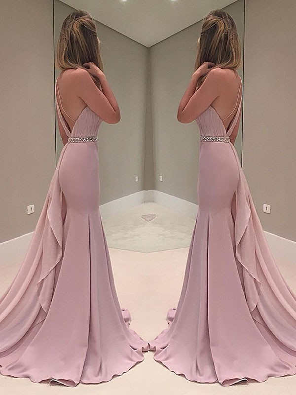 Elegant Mermaid Sleeveless One-Shoulder Sweep/Brush Train Chiffon Dress