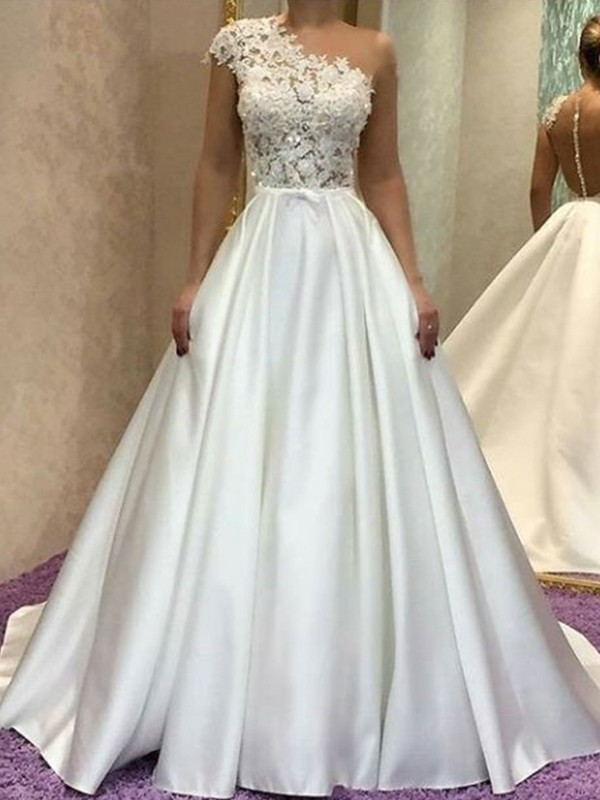 Perfect A-Line One-Shoulder Sleeveless Sweep/Brush Train Lace Satin Wedding Dress