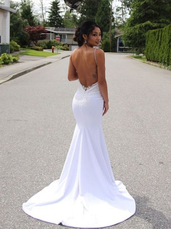Chic Mermaid Spaghetti Straps Sleeveless Sweep/Brush Train Lace Satin Wedding Dress