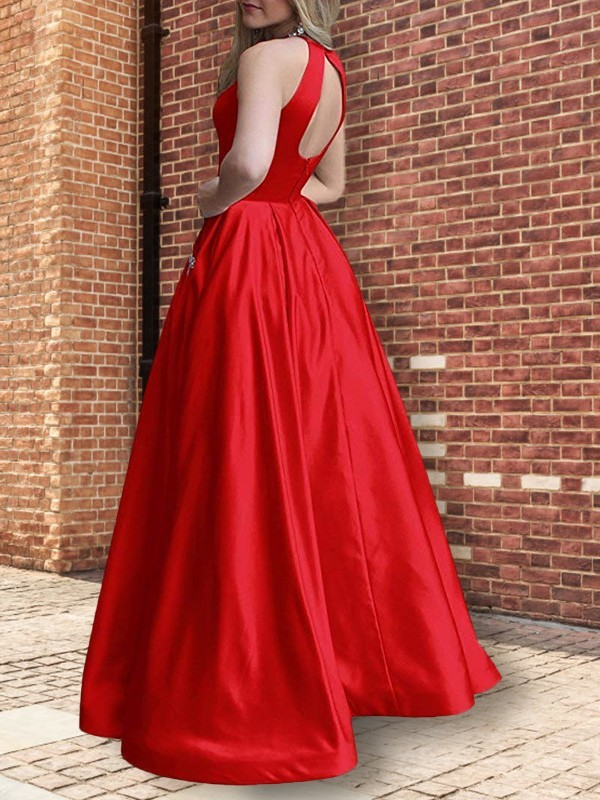 Stunning A-Line Halter Sleeveless Floor-Length Satin Dress