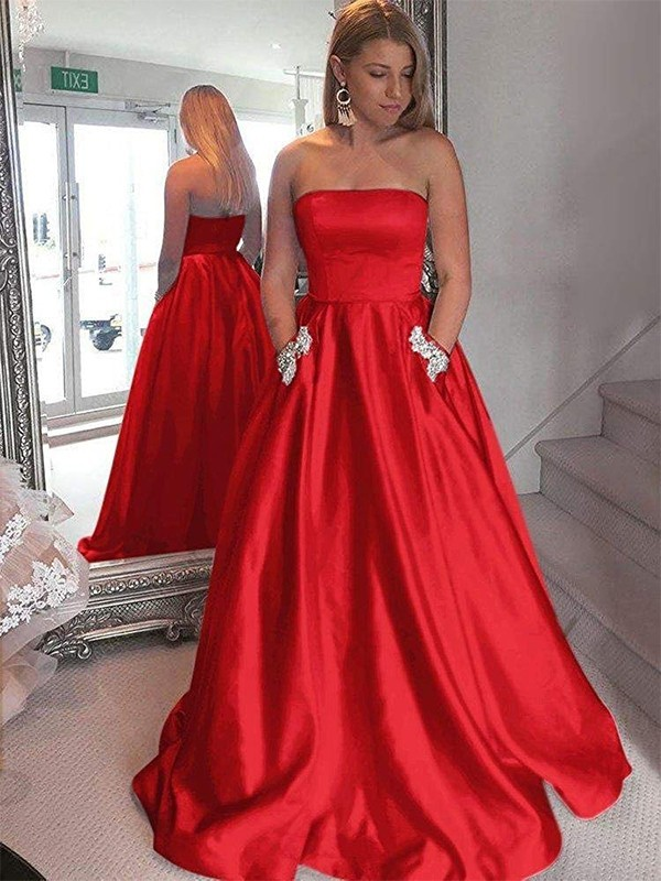Perfect A-Line Strapless Sleeveless Sweep/Brush Train Satin Dress