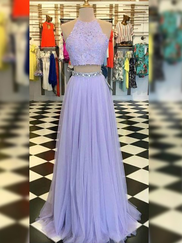 New A-Line Tulle Lace Halter Sleeveless Sweep/Brush Train Two Piece Dress