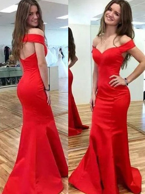 Glamorous Mermaid Sleeveless Off-the-Shoulder Floor-Length Satin Dress