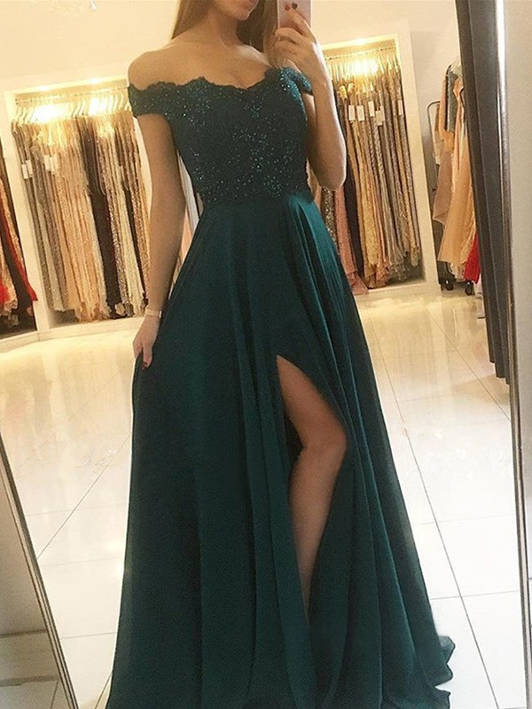 Chic A-Line Off-the-Shoulder Sleeveless Floor-Length Chiffon Dress