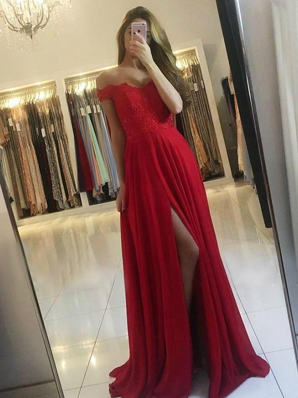 Stylish A-Line Off-the-Shoulder Sleeveless Sweep/Brush Train Chiffon Dress