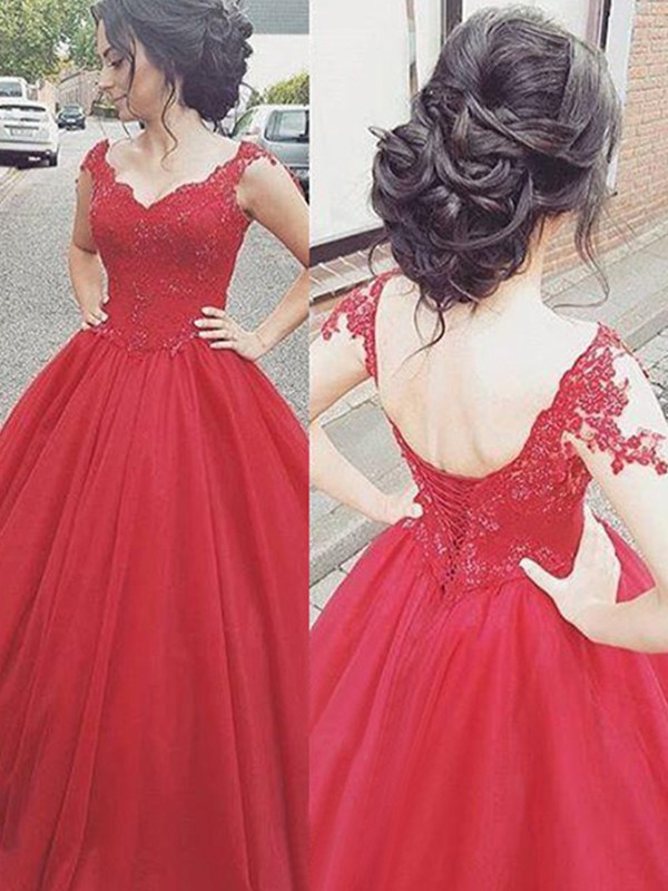 Nice Ball Gown V-neck Sleeveless Floor-Length Satin Dress