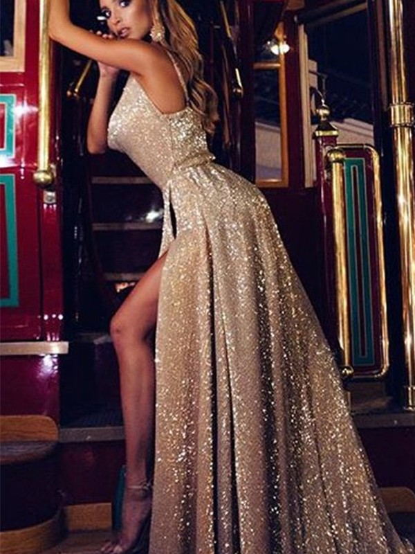 Stunning A-Line Sleeveless V-neck Sweep/Brush Train Sequins Dress