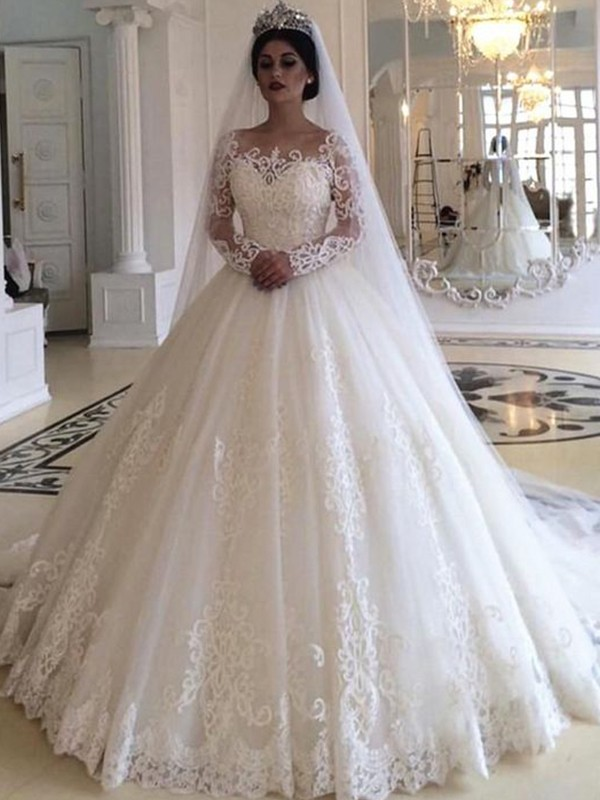 Amazing Ball Gown Tulle Off-the-Shoulder Long Sleeves Sweep/Brush Train Wedding Dress