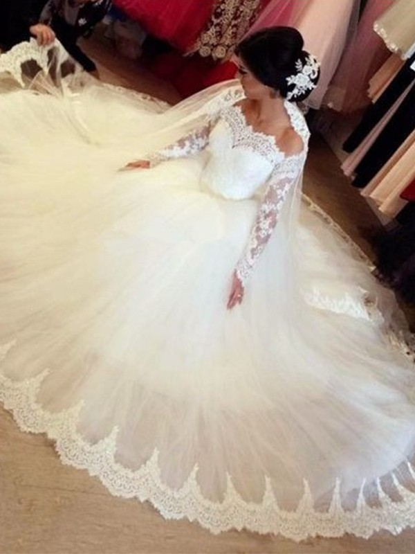 Beautiful Ball Gown Tulle Off-the-Shoulder Long Sleeves Sweep/Brush Train Wedding Dress