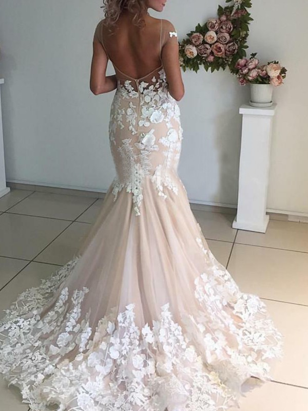Affordable Mermaid Tulle Bateau Short Sleeves Sweep/Brush Train Wedding Dress