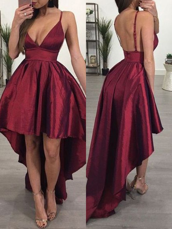Stunning A-Line Satin Spaghetti Straps Sleeveless Asymmetrical Dress