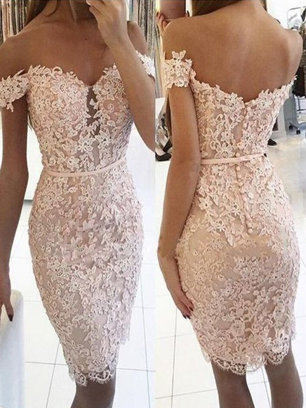Perfect Sheath Lace Off-the-Shoulder Sleeveless Knee-Length Dress
