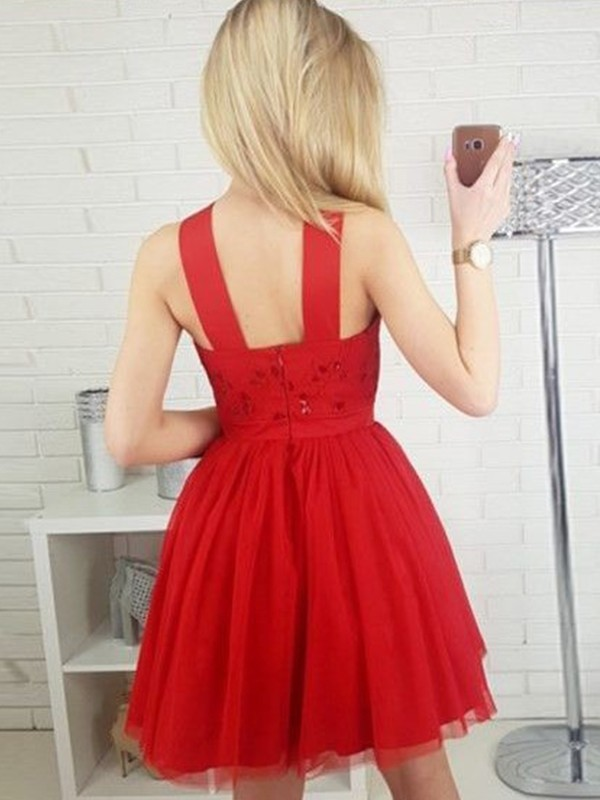 Perfect A-Line Tulle Paillette Halter Sleeveless Short/Mini Dress