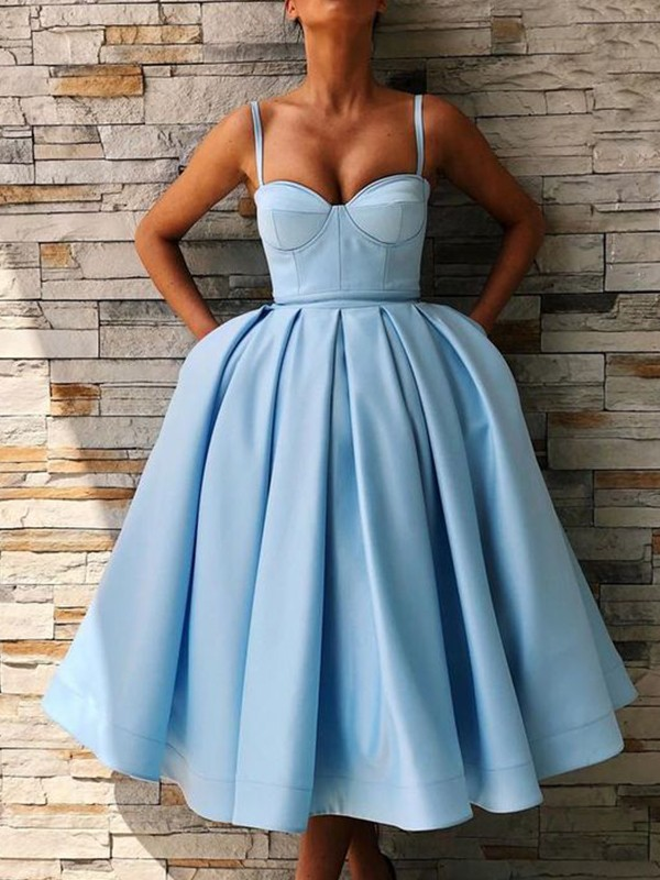 Exquisite Ball Gown Satin Spaghetti Straps Sleeveless Tea-Length Dress