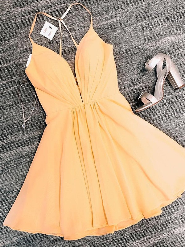 New A-Line Chiffon V-neck Sleeveless Short/Mini Homecoming Dress