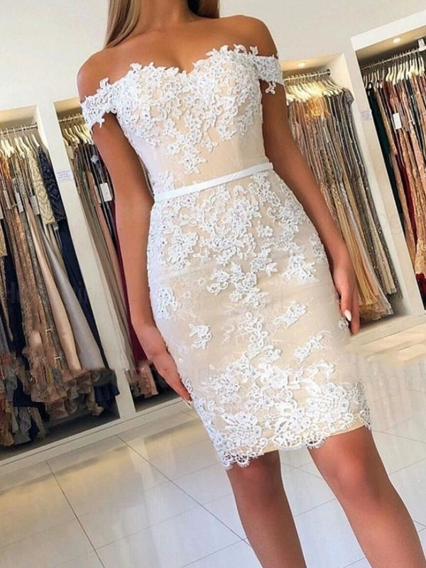Beautiful Sheath Lace Off-the-Shoulder Sleeveless Short/Mini Homecoming Dress