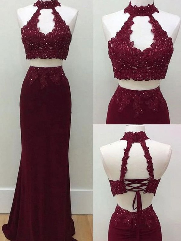 New Arrival Sheath Halter Floor-Length Spandex Two Piece Dress