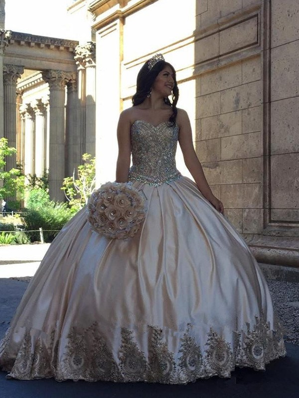 Discount Ball Gown Sweetheart Sweep/Brush Train Satin Sleeveless Dress