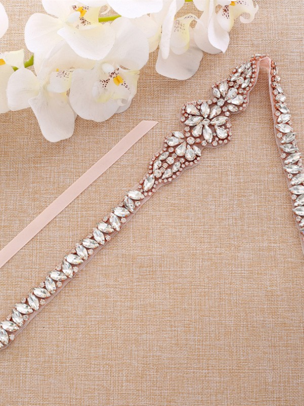 Satin Rhinestones Imitation Pearls Wedding Dress Sash