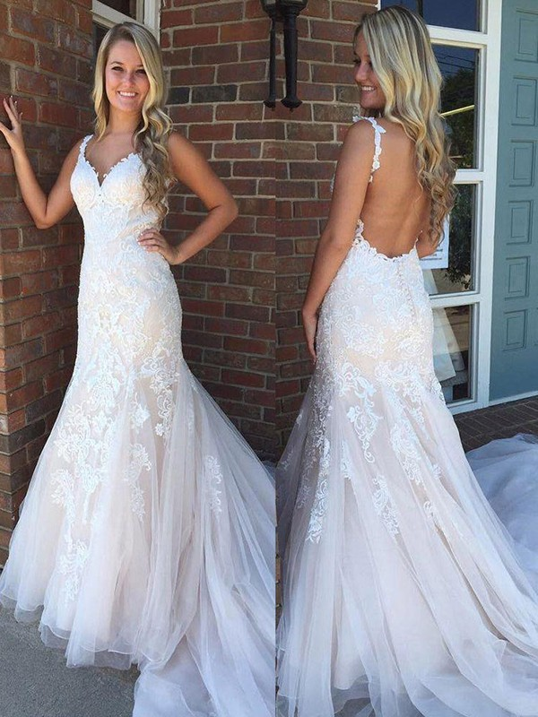 Cheap Mermaid V-neck Sleeveless Sweep/Brush Train Tulle Wedding Dress
