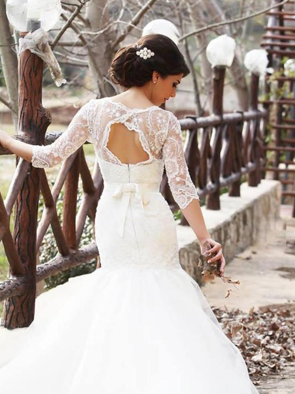 Charming Mermaid Bateau 1/2 Sleeves Floor-Length Lace Tulle Wedding Dress