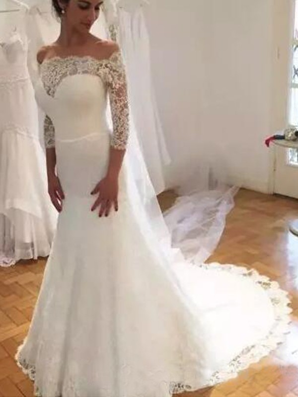 Amazing Mermaid Off-the-Shoulder 3/4 Sleeves Sweep/Brush Train Lace Wedding Dress