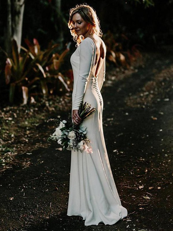 Stunning Sheath Jewel Long Sleeves Floor-Length Elastic Woven Satin Wedding Dress