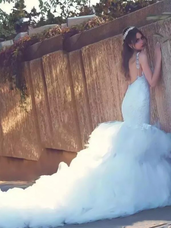 Perfect Mermaid Spaghetti Straps Sleeveless Court Train Lace Tulle Wedding Dress