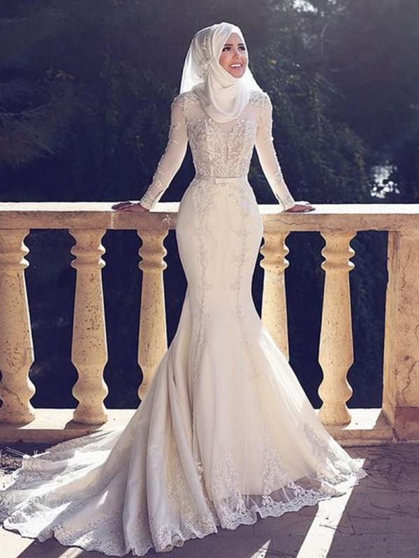 Cheap Mermaid Jewel Long Sleeves Sweep/Brush Train Lace Tulle Wedding Dress