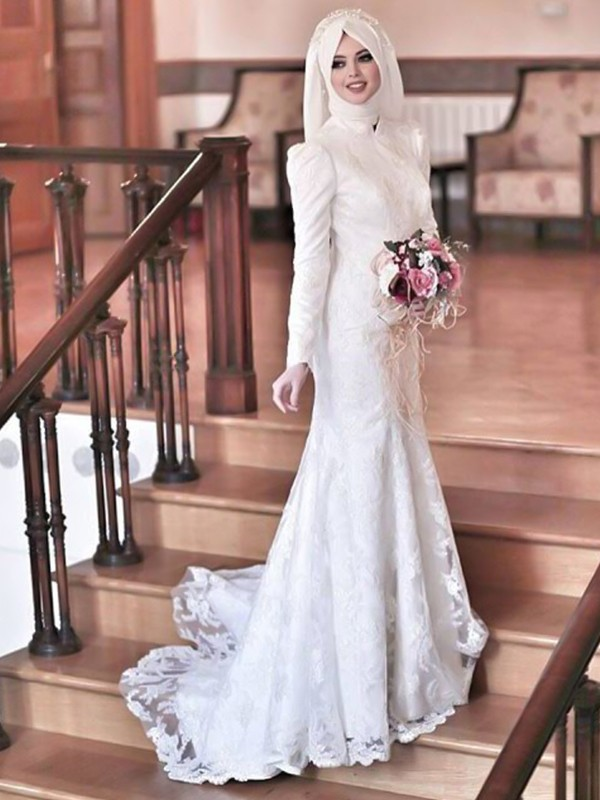 Affordable Mermaid High Neck Long Sleeves Sweep/Brush Train Lace Tulle Wedding Dress