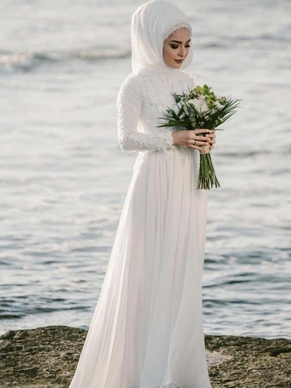 Stylish A-Line Jewel Long Sleeves Floor-Length Chiffon Wedding Dress