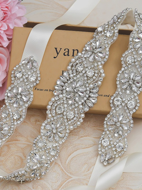 Satin Imitation Pearls Wedding Dress Sash