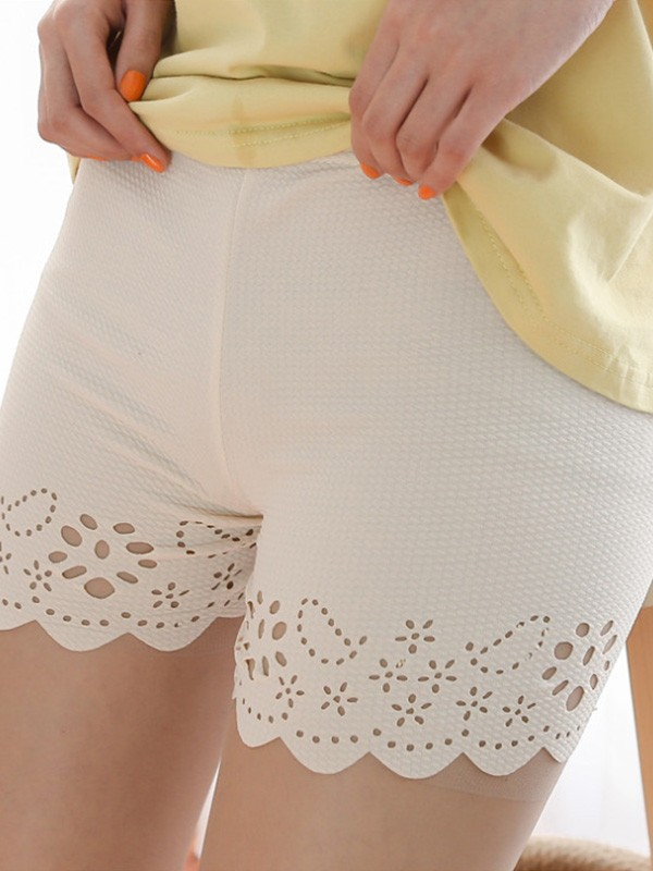 Women Polyester Fiber Hollow Out Safety Pants Shorts