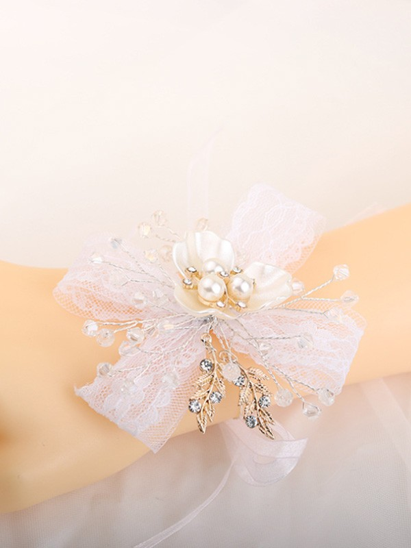 Pure Hand-tied Crystal Wrist Wedding Prom Corsage