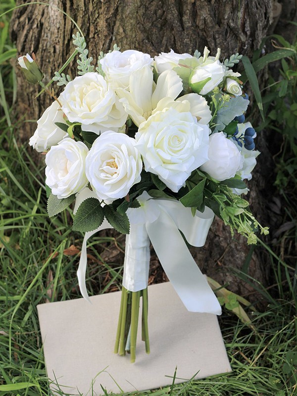 Hot Sale Free-Form Pure Silk Flower Wedding Bouquets