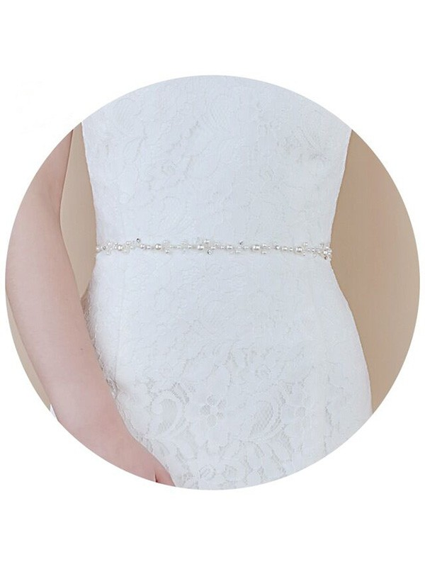 Organza Imitation Pearls Flowers Wedding Dress Sash