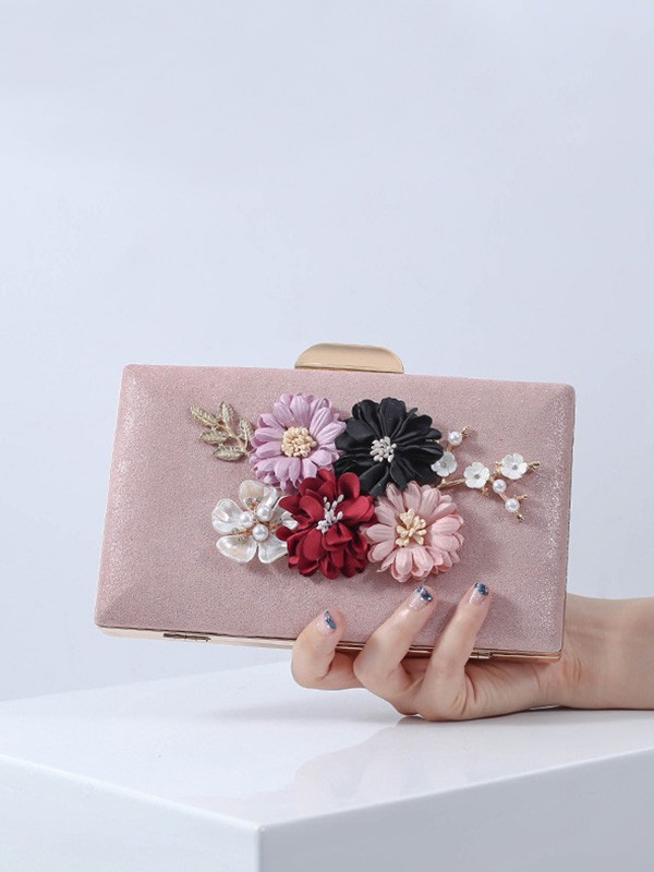 New PU With Flowers Evening/Party Handbag