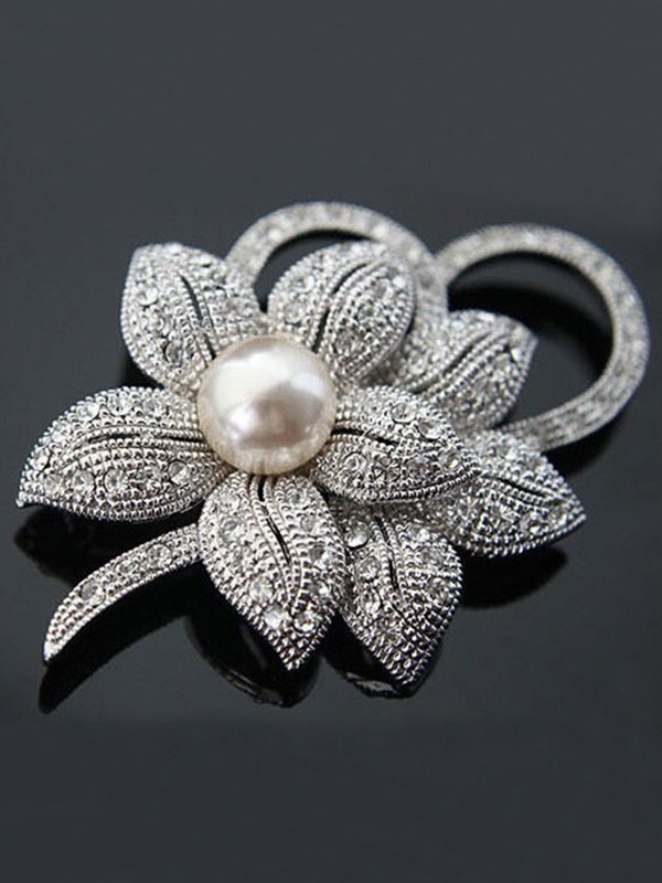 Women's Fashion Alloy With Crystal/Imitation Pearl Wedding Brooch