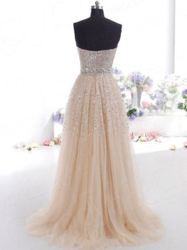 Cheap A-Line Sweetheart Tulle Sleeveless Floor-Length Dress