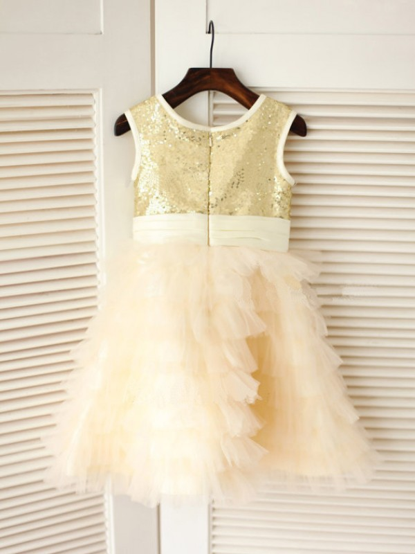 Stunning A-line Scoop Tea-length Tulle Flower Girl Dress