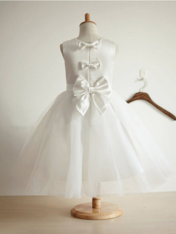 Elegant Ball Gown Jewel Tea-length Tulle Flower Girl Dress