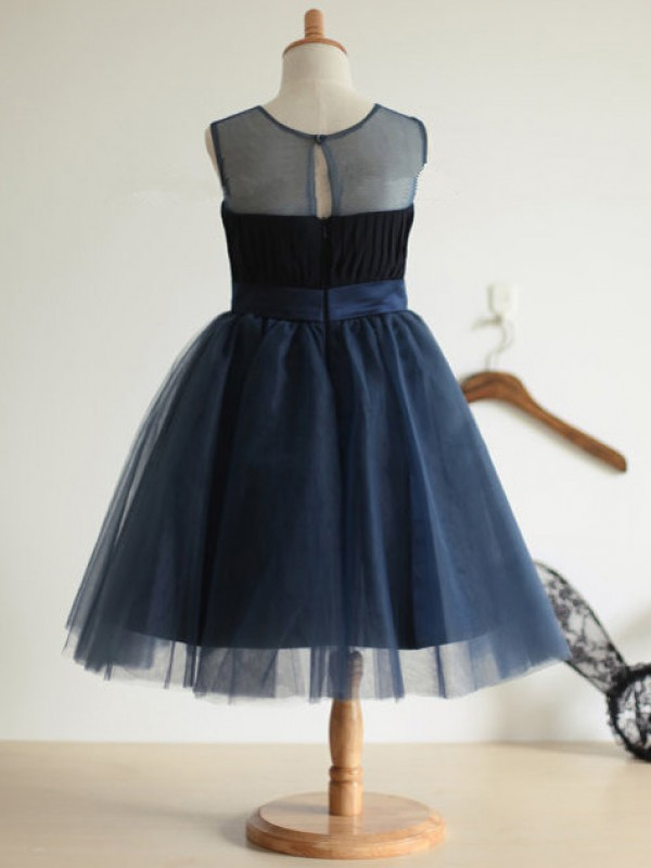 Affordable Ball Gown Jewel Tulle Tea-length Flower Girl Dress